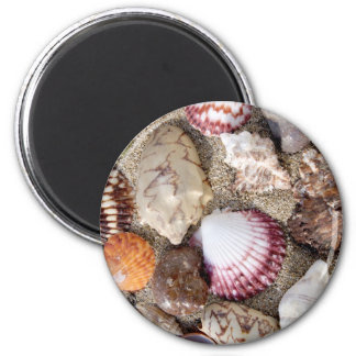Sea in the sand 6 cm round magnet