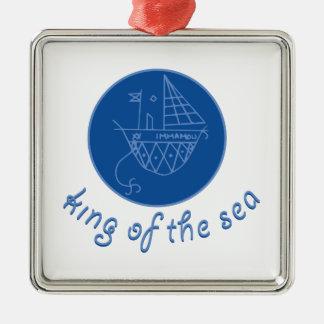 Sea King Silver-Colored Square Decoration