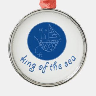 Sea King Silver-Colored Round Decoration