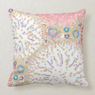 """Sea Life"" abstract print - white and coral Cushion"