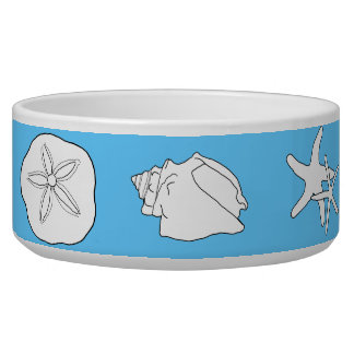 Sea Life Art, Blue Ceramic Animal Food Bowl