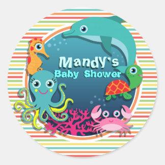 Sea Life Baby Shower, Bright Rainbow Stripes Round Sticker