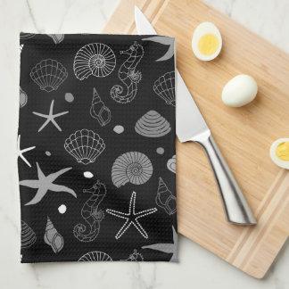 Sea Life Black Pattern Tea Towel