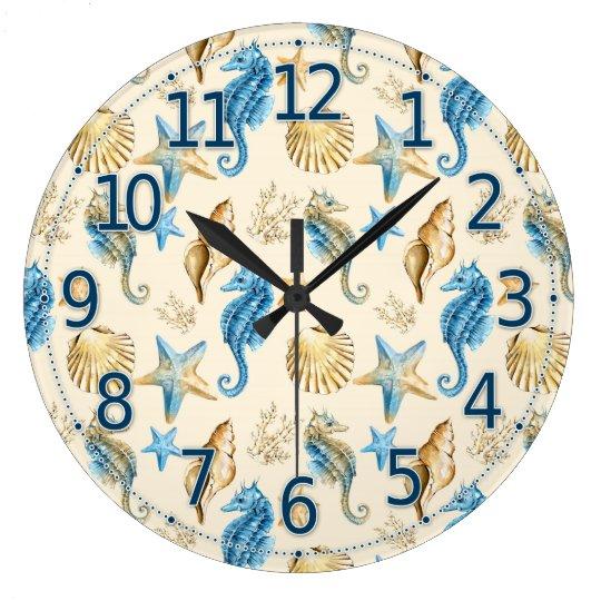 Sea Life Clock, Pretty Seahorse Glass Clock