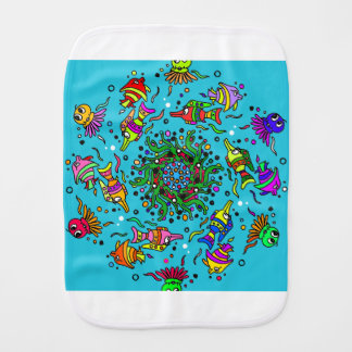 sea life design colorful mandala burp cloth