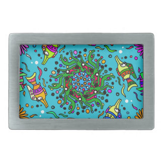 sea life design colorful mandala rectangular belt buckles