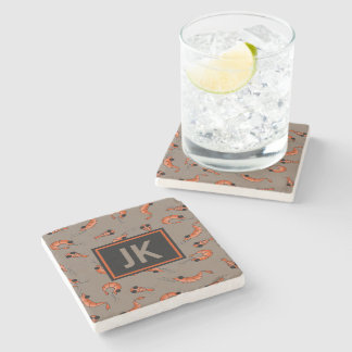 Sea life shrimp marble stone coaster