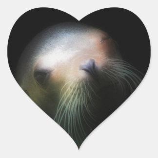 Sea lion Design Heart Sticker