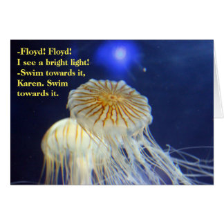 Sea lion wisdom jellyfish swim toward light card