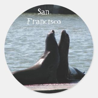 Sea Lions @ Fisherman's Wharf 8/2/... - Customized Round Sticker