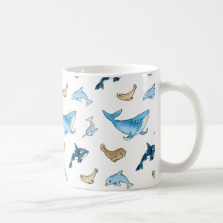 Sea mammals pattern coffee mug