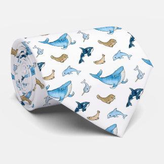 Sea mammals pattern tie