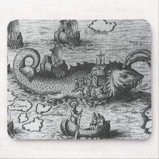 Sea Monster/Creature/Kraken Mouse Pad Black/White