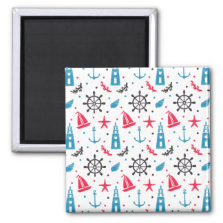Sea Nautical Pattern 2 Inch Square Magnet