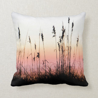 Sea Oats Silhouette Sunset Landscape Photo Throw Pillow