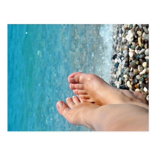 sea ocean beach relax woman feet summer tourism postcard