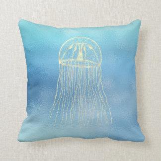 Sea Ocean Blue Aqua Ombre Tiffany Gold Jellyfish Cushion