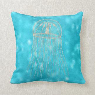 Sea Ocean Blue Aqua Turquoise Tiffany Jellyfish Cushion