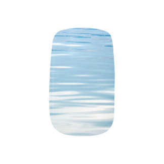 Sea of Tranquility Blue and White Minx Nail Art