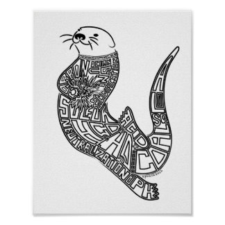 Sea otter, environmental art. poster