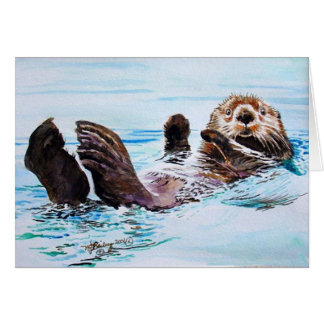Sea Otter Watercolor Card