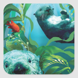 Sea Otter's Garden Square Sticker