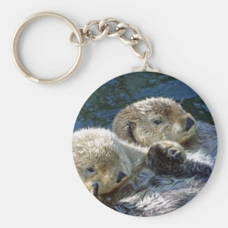 Sea-otters Basic Round Button Key Ring