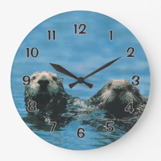Sea Otters Large Clock