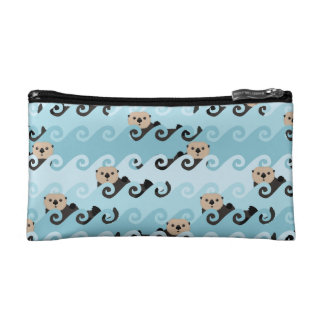 Sea Otters Riding the Waves Cosmetic Bag