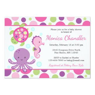 Sea Pink Girl Baby Shower Invitations