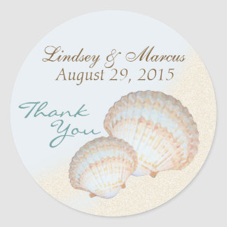 Sea Shell Beach Classic Round Sticker