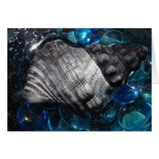 Sea Shell, blue with sea glass bubbles Card