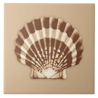 Sea Shell - brown and beige Large Square Tile