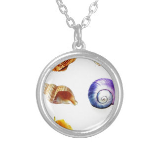 sea shell design bright and colourful silver plated necklace