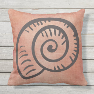 Sea Shell Line Drawing on Orange Outdoor Cushion