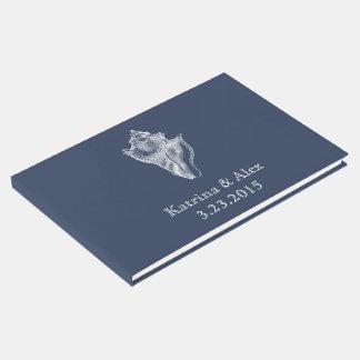 Sea Shell Navy Beach Wedding Guest Book