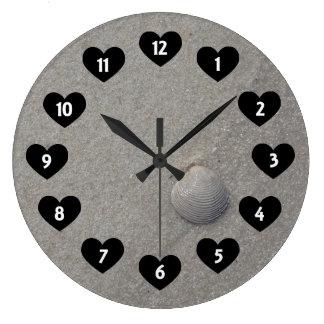 Sea Shell On The Beach With Heart Wall Clock
