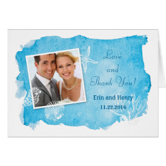 Sea Shell on Watercolor Wedding Thank You Card