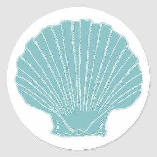 Sea Shell Wedding Envelope Seal Round Sticker