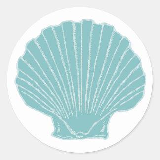 Sea Shell Wedding Envelope Seal Round Sticker