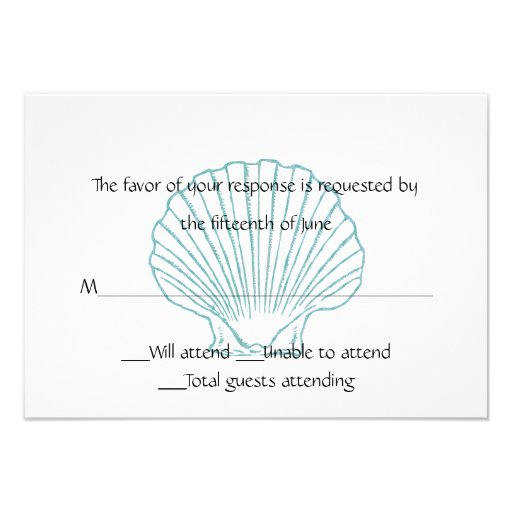 Sea Shell Wedding Response Card Personalized Invitations