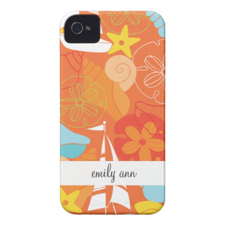 Sea Shells and Boats on Orange Pattern iPhone 4 Case-Mate Cases