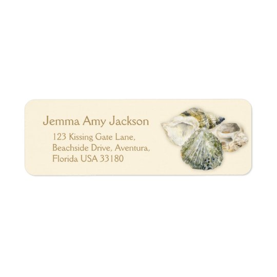 Sea shells art cream wedding return reply label return address label