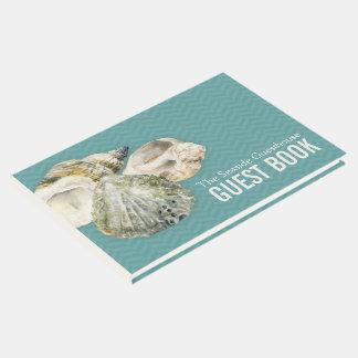 Sea shells art teal chevron guest book
