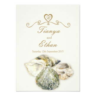 Sea shells art wedding invitation ivory cream