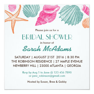 Sea Shells Beach Theme Bridal Shower Invitation