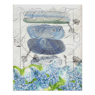 Sea Shells Blue Lilacs Watercolor Flowers Collage Poster