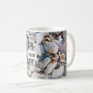 Sea Shells custom monogram mugs