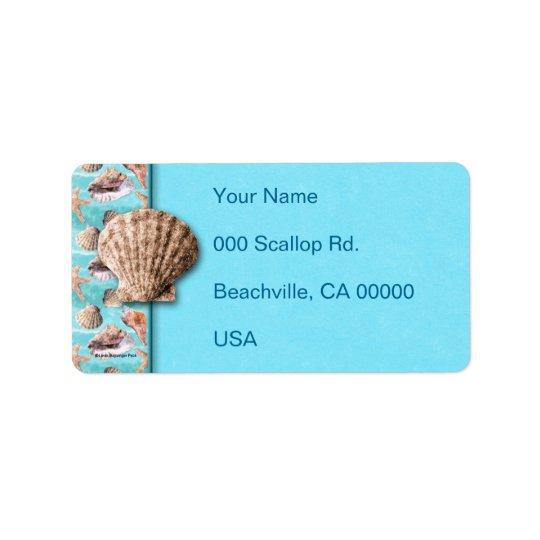 Sea Shells Ocean Blue Stripe Label