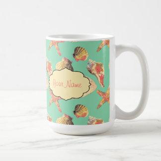 Sea Shells on Aqua Coffee Mug